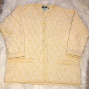 Vintage 100% Merino Wool Cable Knit Cardigan